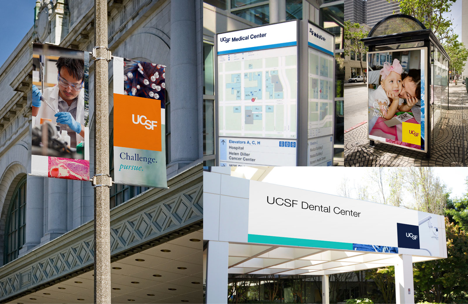 UCSF signage on light poles and bus shelters