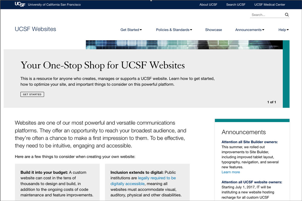 screenshot of websites.ucsf.edu